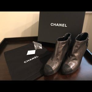 Chanel silver with black toe booties